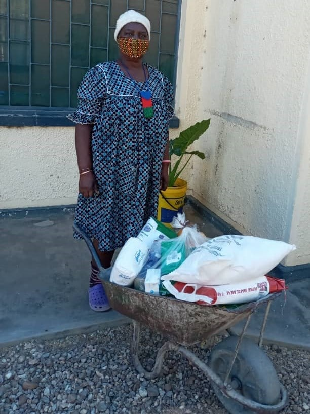 The food is meant to last for 1 month and requires a wheelbarrow to be transported home_